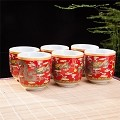 Set Of 6 Eastern Asian Design Ceramic Tea Cups In Red Dragon - 8 OZ  Capacity Each