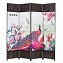 THY COLLECTIBLES Decorative Freestanding Woven Bamboo & Canvas Print 4 Panels Hinged Panel Screen Portable Folding Room Divider (Peacocks)