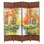 THY COLLECTIBLES Decorative Freestanding Woven Bamboo & Canvas Print 4 Panels Hinged Panel Screen Portable Folding Room Divider (Forest Park)