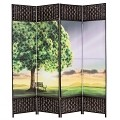 THY COLLECTIBLES Decorative Freestanding Woven Bamboo & Canvas Print 4 Panels Hinged Panel Screen Portable Folding Room Divider (Sunset Park)