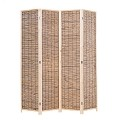 THY COLLECTIBLES Decorative Freestanding Wood Frame Reed Woven 4 Panels Hinged Semi Privacy Panel Screen Portable Folding Room Divider (Carbonized Color)