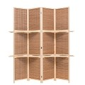 THY COLLECTIBLES Freestanding Wood Frame Woven Bamboo 4 Panels Hinged Privacy Panel Screen Partition Wall With 2 Display Shelves Holding Room Divider With Shelves-Bamboo (Beige)