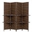 THY COLLECTIBLES Freestanding Wood Frame Woven Bamboo 4 Panels Hinged Privacy Panel Screen Partition Wall With 2 Display Shelves Holding Room Divider With Shelves-Bamboo (Darkmocha)