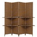 THY COLLECTIBLES Freestanding Woven Bamboo 4 Panels Hinged Privacy Panel Screen Partition Wall With 2 Display Shelves Holding Room Divider With Shelves-Bamboo (Coffeebrown)