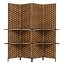 THY COLLECTIBLES Freestanding Wood Frame Woven Bamboo 4 Panels Hinged Privacy Panel Screen Partition Wall With 2 Display Shelves Holding Room Divider With Shelves-Bamboo (Coffeebrown)