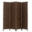 THY COLLECTIBLES Decorative Freestanding Woven Bamboo 4 Panels Hinged Privacy Panel Screen Portable Folding Room Divider (Darkmocha)