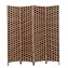 THY COLLECTIBLES Decorative Freestanding Woven Bamboo 4 Panels Hinged Privacy Panel Screen Portable Folding Room Divider (Chocolate)