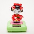 Solar Powered Bobblehead Toy Figure, Japanese Kimono Maiko Geisha - Red