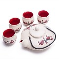 Contemporary Art Decor Porcelain 5 PCS Tea Set Teapot Teacup Plum Blossom