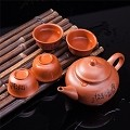 Exquisite 5 PCS Asian Chinese Calligraphy Design Purple Clay Tea Pot Tea Cups Set In Gift Box
