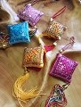 Set Of 5 Rhombus Handcraft Knitted Sequin Embroidered  Chinese Traditional Ornamental Knot Tassel For Home, Car, Party & Holiday Decor