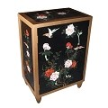 Black Lacquered Oriental Chest Golden Edge Trim