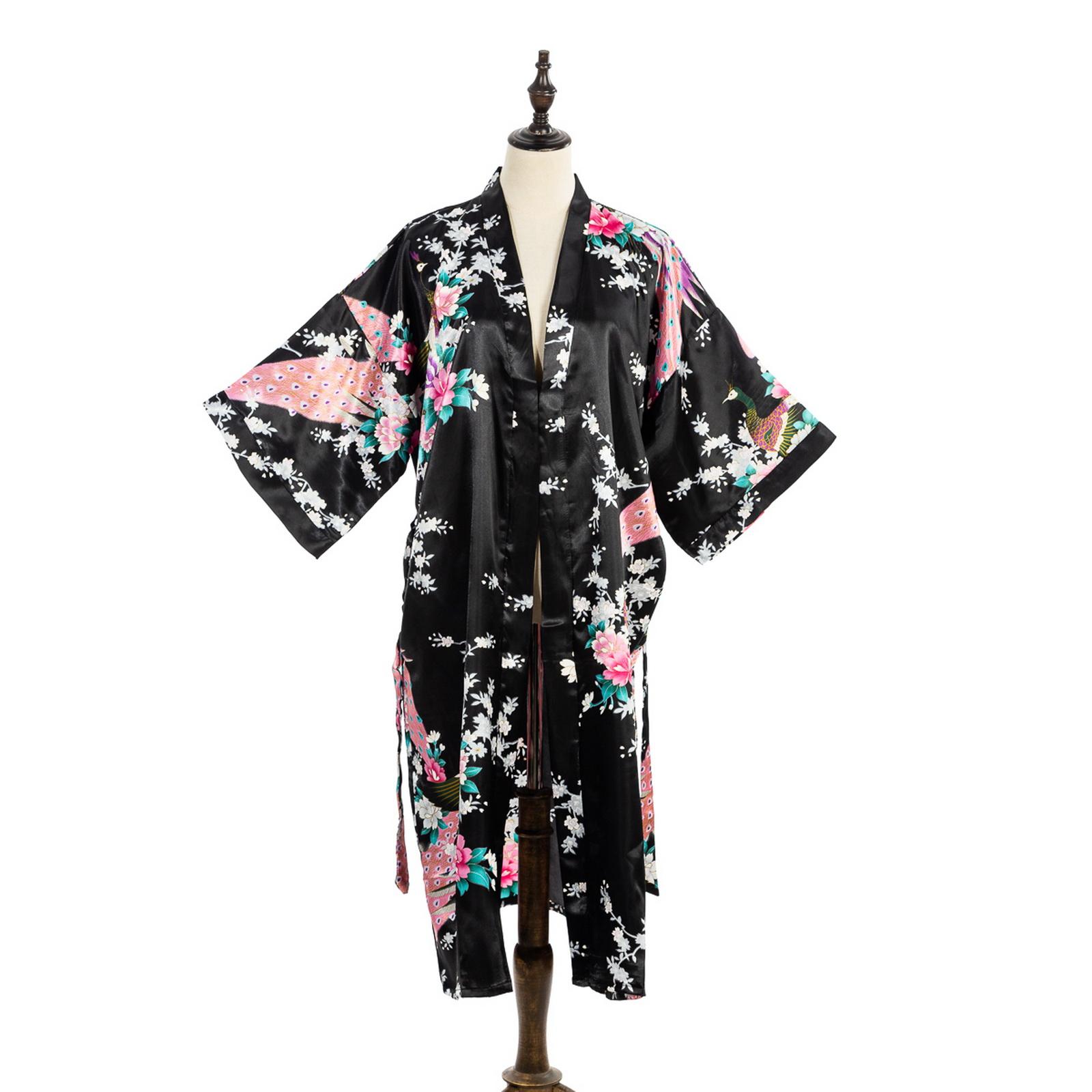Flower Peacock Satin Silk Kimono Robe Dressing Gown Bridal Gift Black