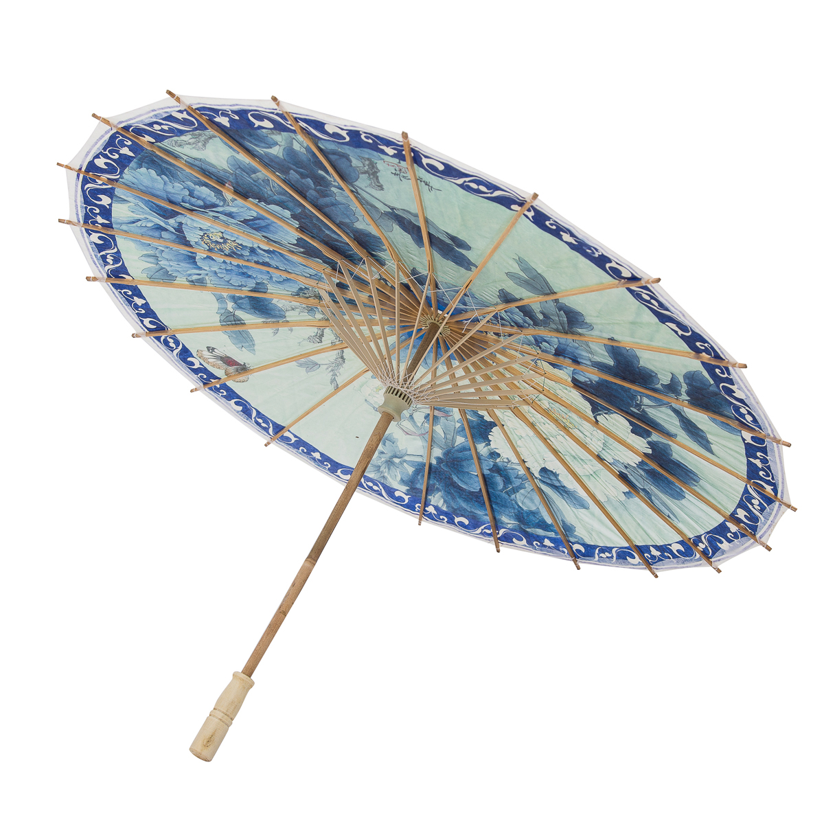 Rainproof Handmade Chinese Oiled Paper Umbrella Parasol 33 Blue White Flowers