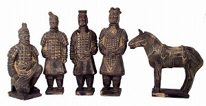 Set Of 5 Qin Dynasty Terracotta Warriors In Miniature LG