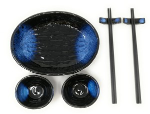 Contemporary Dinnerware 7 PCS Sushi Dinner Set For Two