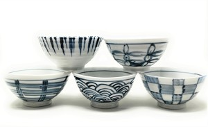 Contemporary Orient Inspired Set Of 5 Bowls