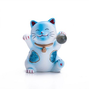 Hand Painted Feng Shui Mini Maneki Neko Lucky Cat Blue