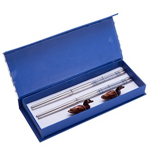 4 (2 pairs) Silver Stainless Steel Chopsticks & Mandarin Duck Holders Set In Gift Box