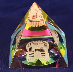 3D Color Pyramid Crystal Glass Art