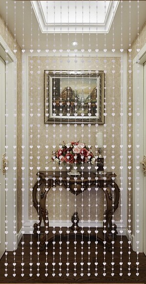 Beautiful Home Decor Acrylic Beaded Curtain - Silver Heart