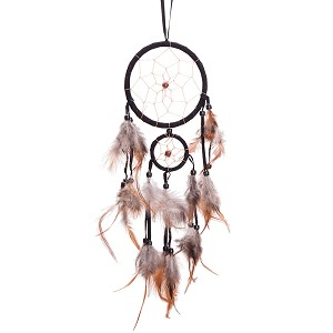 "18"" Long Traditional Black Dream Catcher with Feathers Wall or Car Hanging Ornament 2 Circles"