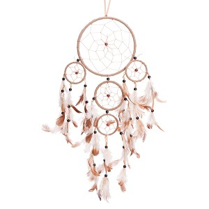 "22"" Long Traditional Beige Dream Catcher with Feathers Wall or Car Hanging Ornament 5 Circles"