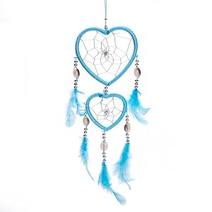 "17"" Traditional Blue Dream Catcher with Feathers Wall or Car Hanging Ornament Heart Shaped"