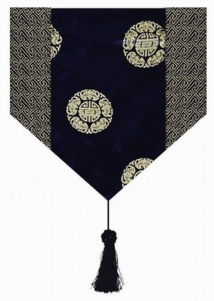 Gorgeous Oriental Brocade Table Runner CHINESE FORTUNE SYMBOL (DEEP BLUE)