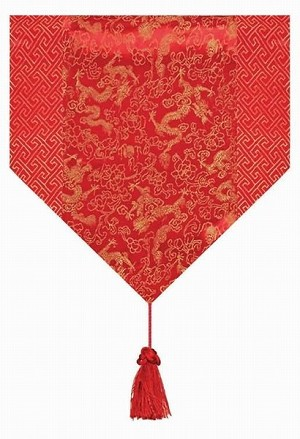 Gorgeous Oriental Brocade Table Runner DRAGON (RED)