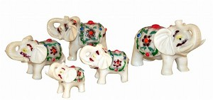 Antique Ivory Finish Set Of 5 Cute Elephants