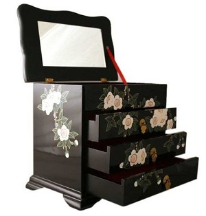 Elegant Oriental Black Lacquered Jewelry Box