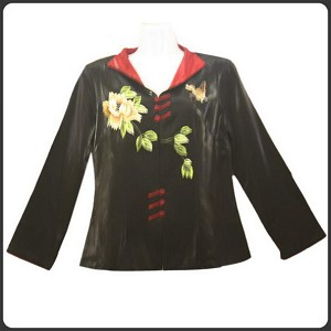 V-Neck Collar Brocade Jacket
