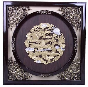 Antique Style Wall Frame w. Raised Golden Single Dragon Design