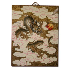 Asian Oriental Lacquered Painting Wall Art Plaque (Sun Dragon)