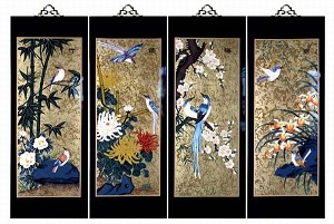 Set Of 4 Oriental Lacquered Painting Wall Art Plaques (Four Seasons) MED