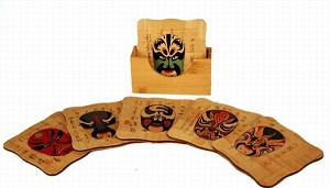 Set Of 6 Chinese Painting Bamboo Coasters