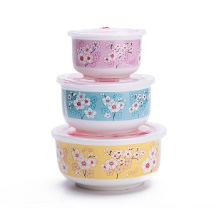 Set Of 3 Ceramic Lunch Bento Boxes / Food Carrier / Food Storage & Organization Container With Lid 3 Colors Sakura