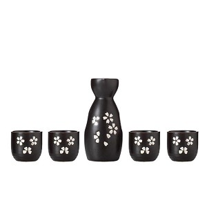 TJ Global 5-Piece Sake Set, Durable Ceramic Japanese Sake Set with 1 Carafe/Decanter/Tokkuri Bottle and 4 Ochoko cups for Hot or Cold Sake at Home or Restaurant - Black with White Flower Petal Design