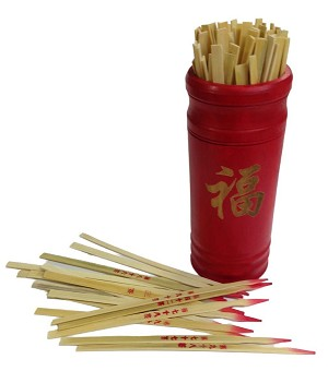 "Chinese Fortune Telling Sticks W. Instruction Booklet Red Bamboo Cansiter Golden ""FU"""