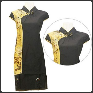 Chinese Brocade Short Sleeve Qi Pao Dress