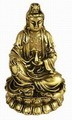 Hong Tze Collection-Small Golden Kwan Yin Sitting On Lotus