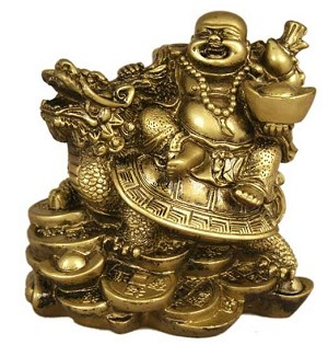 Lucky Buddha Riding On Dragon Turtle (Brass Color)