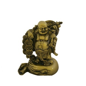 Hong Tze Collection-Brass Color Buddha Grabbing Chinese Coins