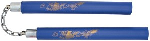 "12"" Blue Dragon Foam Padded Nunchaku w/ Steel Swivel Chain"
