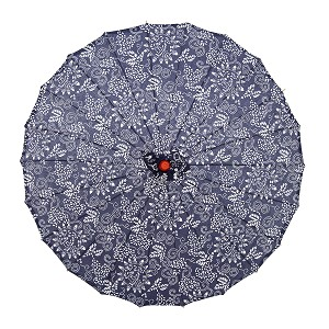 "Japanese Chinese Asian Parasol Umbrella 33"" Beautiful Blue-And-White Floral Design"