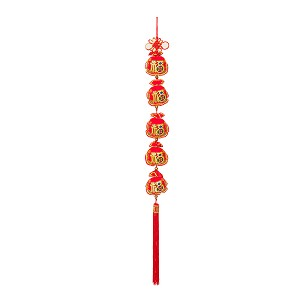 "Oriental Feng Shui Handcraft Knitted Sequin Embroidered Chinese Traditional Ornamental Knot Tassel For Home, Party & Holiday Decor ""Fu""-Fortune"