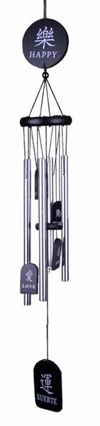 Aluminum Bronze Feng Shui Wind Chime Multi-Language (Black)