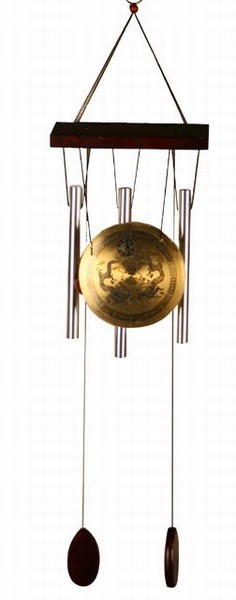 Medium Brass Zen Art Feng Shui Gong Wind Chime