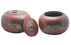 Pair Of 2 Go Game Stones Jujube Bowls Dragon Design